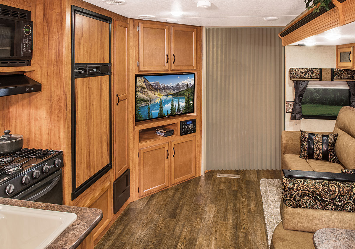 2016 K Z RV Spree Connect C326BHS Travel Trailer Living Room Curtain Closed