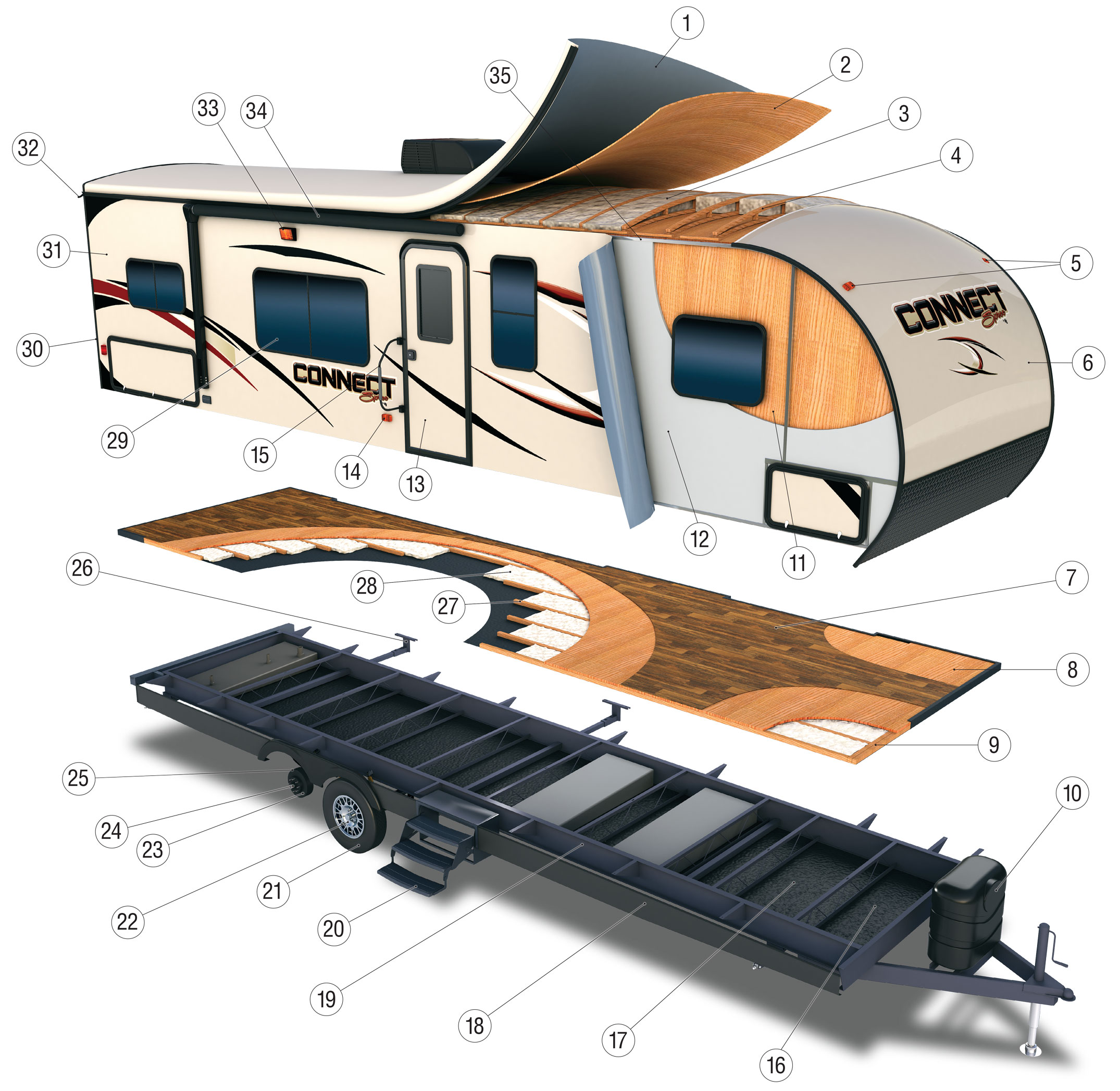 2017 KZ RV Connect Travel Trailer Cutaway