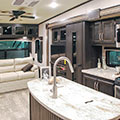 2018 KZ RV Durango D325RLT Fifth Wheel Entertainment Center in Travertine Decor