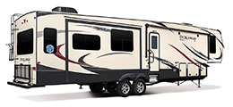2018 KZ RV Durango D343MBQ Fifth Wheel Exterior Rear 3-4 Door Side