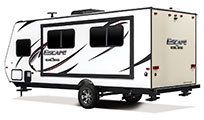 2018 KZ RV Escape E191SS Travel Trailer Exterior Rear 3-4 Off Door Side