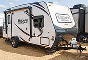 2018 KZ RV Escape Mini M181RK Travel Trailer Exterior Front 3-4 Door Side