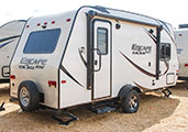 2018 KZ RV Escape Mini M181RK Travel Trailer Exterior Rear 3-4 Door Side