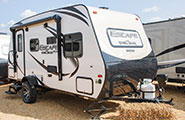 2018 KZ RV Escape Mini M181UD Travel Trailer Exterior Front 3-4 Door Side