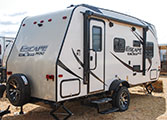 2018 KZ RV Escape Mini M181UD Travel Trailer Exterior Rear 3-4 Door Side
