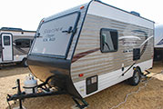2018 KZ RV Sportsmen Classic 160RBT Travel Trailer Show Exterior Front 3-4 Off Door Side