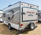 2018 KZ RV Sportsmen Classic 160RBT Travel Trailer Show Exterior Rear 3-4 Off Door Side