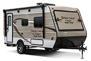 2018 KZ RV Sportsmen Classic 160RBT Travel Trailer Exterior Front 3-4 Door Side