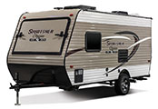 2018 KZ RV Sportsmen Classic 160RBT Travel Trailer Exterior Front 3-4 Off Door Side