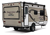 2018 KZ RV Sportsmen Classic 160RBT Travel Trailer Exterior Rear 3-4 Door Side