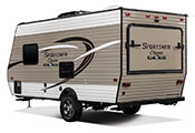 2018 KZ RV Sportsmen Classic 160RBT Travel Trailer Exterior Rear 3-4 Off Door Side