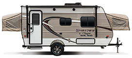 2018 KZ RV Sportsmen Classic 160RBT Travel Trailer Exterior Side Profile Door Side Tent Out