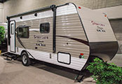 2018 KZ RV Sportsmen Classic 180THT Travel Trailer Toy Hauler Exterior Front 3-4 Door Side