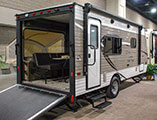 2018 KZ RV Sportsmen Classic 180THT Travel Trailer Toy Hauler Exterior Rear 3-4 Door Side