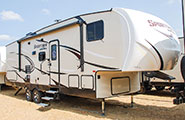 2018 KZ RV Sportsmen 281BHK Fifth Wheel Exterior Front 3-4 Door Side