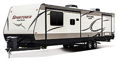 2018 KZ RV Sportsmen 363FL Destination Travel Trailer Exterior Front 3-4 Off Door Side