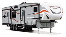 2018 KZ RV Sportster 373TH12 Fifth Wheel Toy Hauler Exterior Front 3-4 Door Side