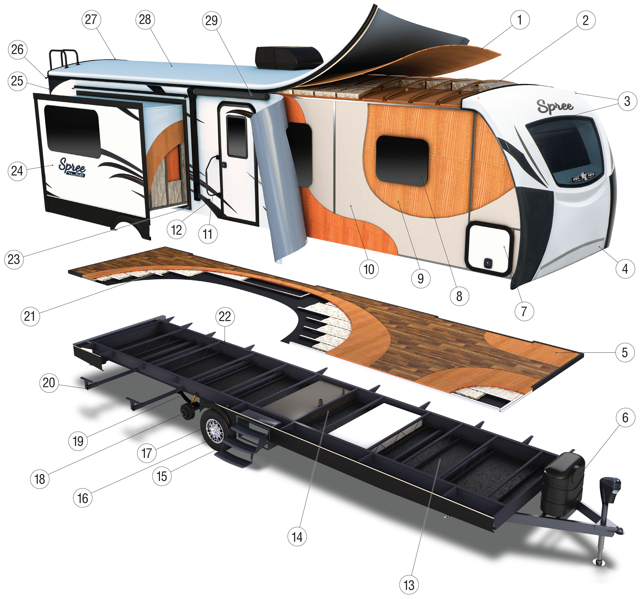 2018 KZ RV Spree Travel Trailer Cutaway spree luxury lightweight travel trailer features k z rv  at gsmx.co