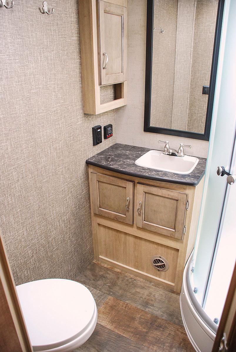 Spree s261rkc luxury lightweight travel trailer k z rv for Travel trailer bathroom ideas