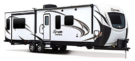 2018 K-Z RV Spree S333RLF Travel Trailer Exterior Front 3-4 Door Side