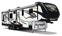 2018 KZ RV Venom V3911TK Fifth Wheel Toy Hauler Exterior Front 3-4 Door Side