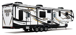 2018 KZ RV Venom V3911TK Fifth Wheel Toy Hauler Exterior Rear 3-4 Door Side
