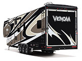 2018 KZ RV Venom V4013TK Fifth Wheel Toy Hauler Exterior Rear 3-4 Off Door Side