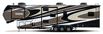 2018 KZ RV Venom V4013TK Fifth Wheel Toy Hauler Exterior Side Profile Door Side