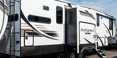 2020 KZ RV Durango D321RKT Fifth Wheel Exterior Rear 3-4 Door Side with Slide Out