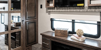 2020 KZ RV Durango Gold G356RLT Fifth Wheel Bedroom Entertainment Center