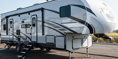2020 KZ RV Sportster 311TH10 Fifth Wheel Toy Hauler Exterior Front 3-4 Door Side