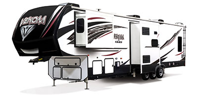 2020 KZ RV Venom 4013TK Fifth Wheel Toy Hauler Exterior Front 3-4 Off Door Side with Slide Out