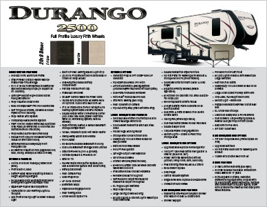 2018 K-Z RV Durango 2500 Full Profile Luxury Fifth Wheels Flyer