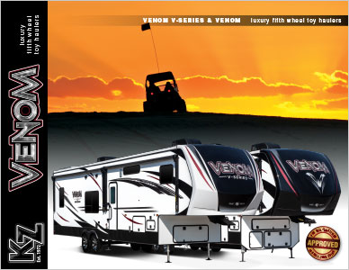 2019 KZ RV Venom Luxury Fifth Wheel Toy Haulers Brochure