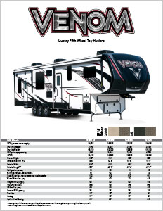 2019 KZ RV Venom Luxury Fifth Wheel Toy Haulers Flyer