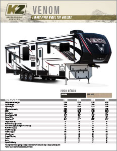 2020 KZ RV Venom Luxury Fifth Wheel Toy Haulers Flyer
