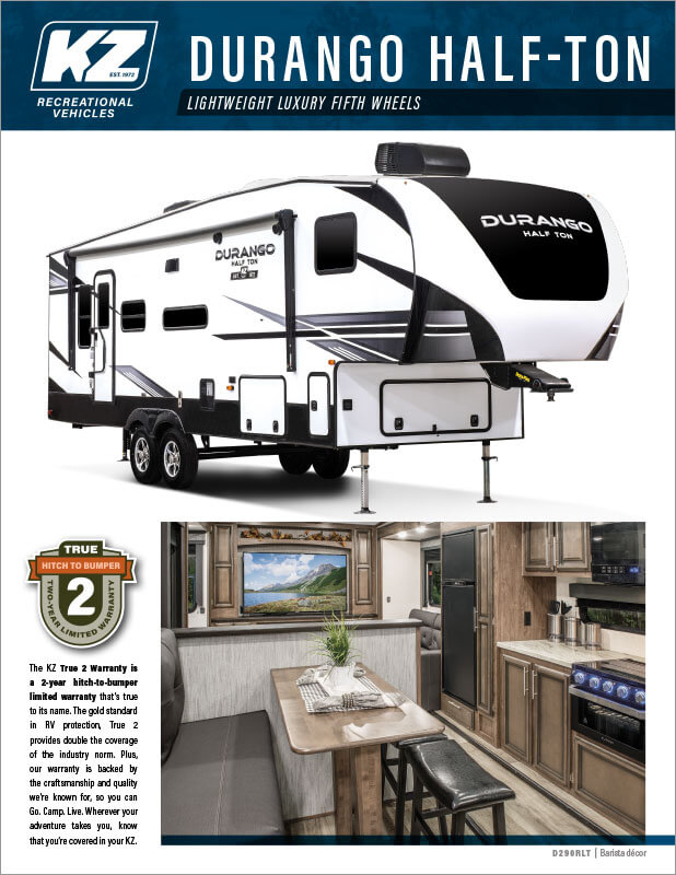 2021 KZ RV Durango Half-Ton Lightweight Luxury Fifth Wheels Brochure