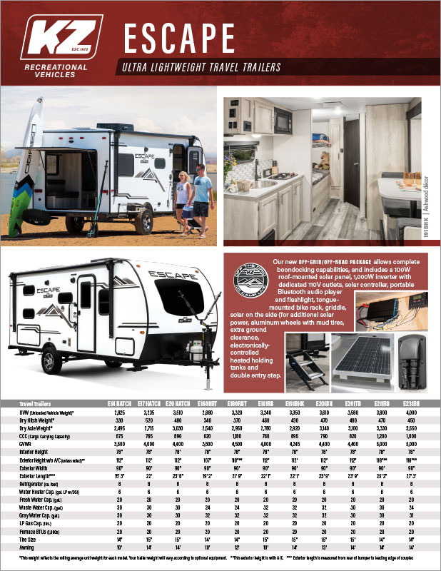 2021 KZ RV Escape Ultra Lightweight Travel Trailers Brochure