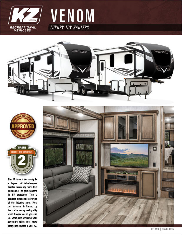 2021 KZ RV Venom Luxury Fifth Wheel Toy Haulers Brochure