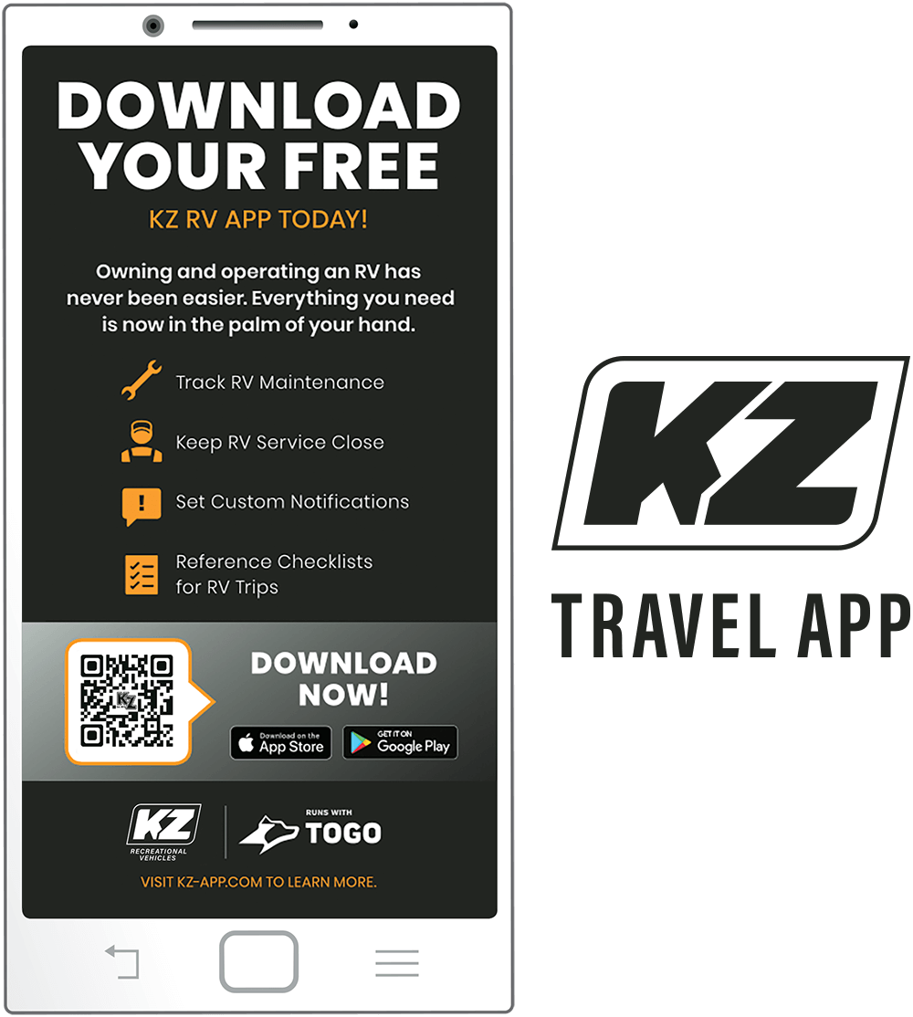 KZ RV Travel App shown on Smartphone Screen