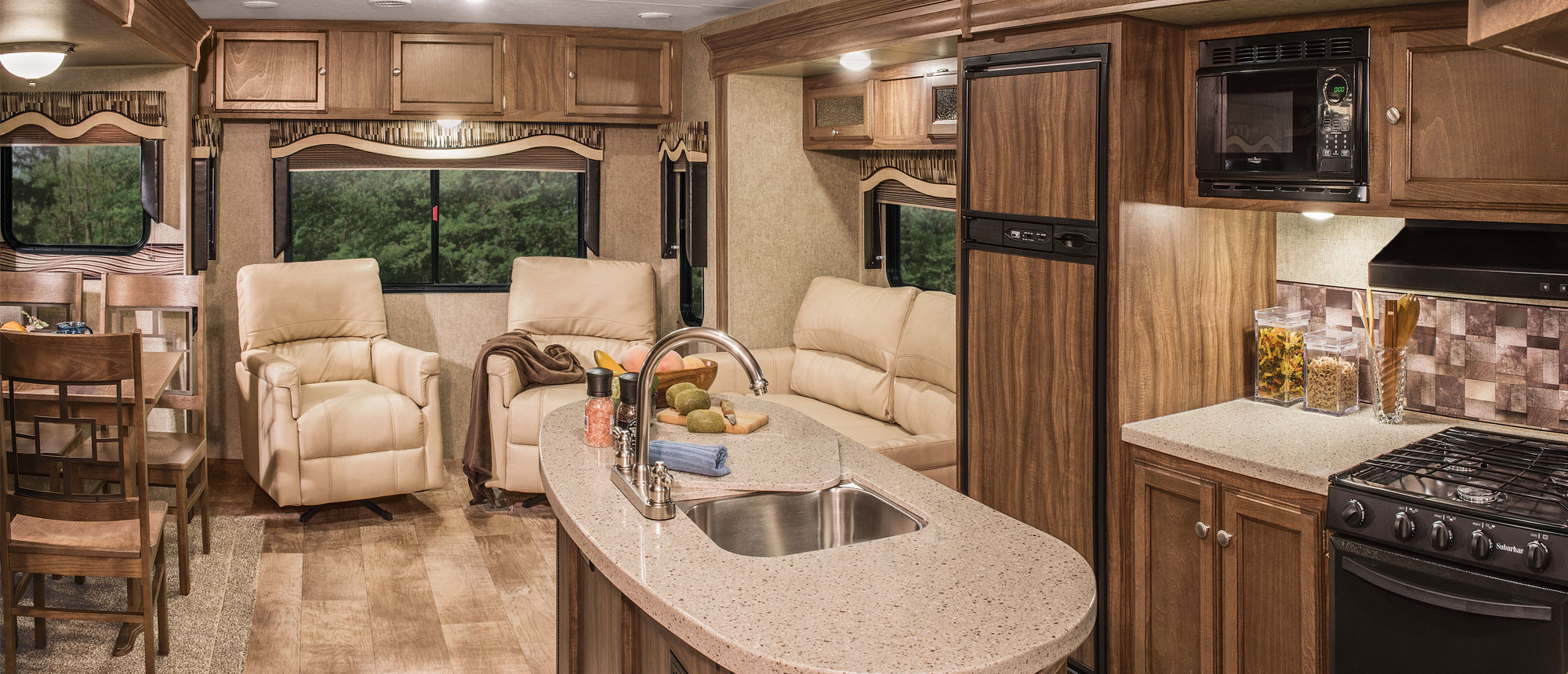 K-Z RV Sportsmen Fifth Wheels and Travel Trailers Interior Living Room and Kitchen
