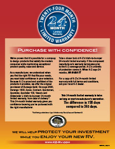 K-Z RV 24 Month Warranty Flyer