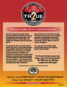 K-Z RV True 2 Year Limited Warranty Flyer