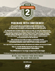 KZ RV True 2 Two-Year Limited Warranty Flyer